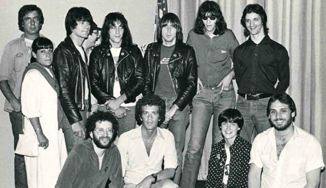 Meg Griffin (front row, second from the right) and the Ramones with Linda Stein and Danny Fields (back row) in 1979 at WPIX-FM in New York (photo by Tomas Boyle, courtesy of Meg Griffin)