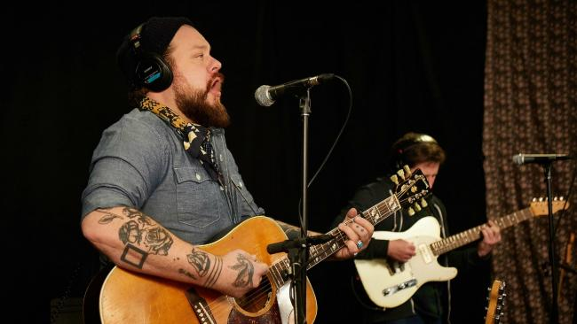 Nathaniel Rateliff and Luke Mossman of The Night Sweats in Studio A (photo by Gus Philippas/WFUV)