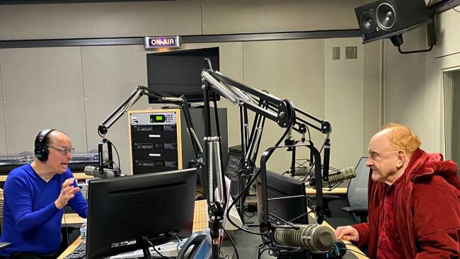 """Cavalcade"" host Paul Cavalconte and Peter Asher (photo by Jeremy Rainer, WFUV)"
