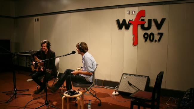 Christian Mazzalai and Thomas Mars of Phoenix in Studio A (photo by WFUV)