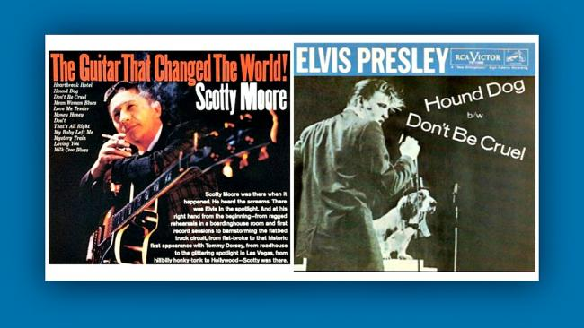 Album and single covers from Elvis Presley and Scotty Moore