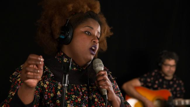 The Suffers' Kam Franklin in Studio A (photo by Brian Gallagher/WFUV)
