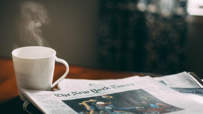 Sunday coffee and New York Times (photo by adwriter, courtesy of CC 2.0)