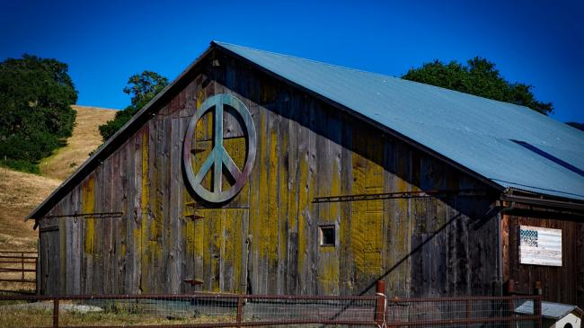 barn with peace sign