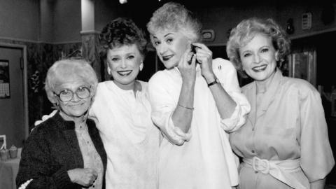 """The cast of """"Golden Girls,"""" from left: Estelle Getty, Rue McClanahan, Bea Arthur and Betty White. (AP Photo/Nick Ut)"""