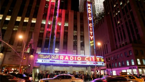 The Radio City Music Hall marquee lit up for Björk in 2007. (AP Photo/Frank Franklin II)