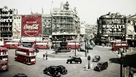 View of Piccadilly Circus in London, around 1956 (AP Photo)