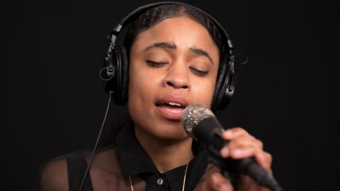 Adia Victoria in Studio A (photo by Alex Brennan/WFUV)