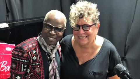 Angelique Kidjo with Rita Houston (photo courtesy of Rita)