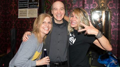Eric Holland with Tanya Donelly and Gail Greenwood of Belly (photo by Gus Philippas/WFUV)