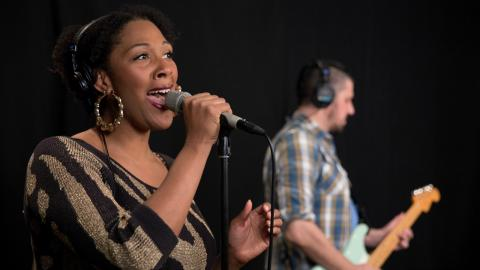 Brandi and The Alexanders in Studio A (photo by Dan Tuozzoli/WFUV)
