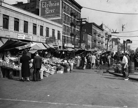 Photograph of street fair at Arthur and Crescent Avenues, Bronx, NY, by staff photographer of NY World Telegraph and Sun.
