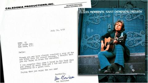 Letter from Van Morrison and Saint Dominic's Preview album cover (courtesy of Dennis Elsas)