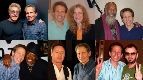 Dennis Elsas with (clockwise from top left): Roger Daltrey, Patti Smith, Richie Havens, Ringo Starr, Julian Lennon and Clarence Clemons.