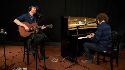 Hiss Golden Messenger in Studio A (photo by Gus Philippas/WFUV)