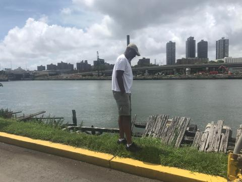 Mychal Johnson at the Mott Haven waterfront in the Bronx