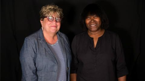 Rita Houston with Joan Armatrading in Studio A (photo by Brian Gallagher/WFUV)