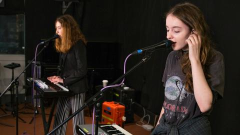 Let's Eat Grandma in Studio A (photo by Jake Lee, WFUV)