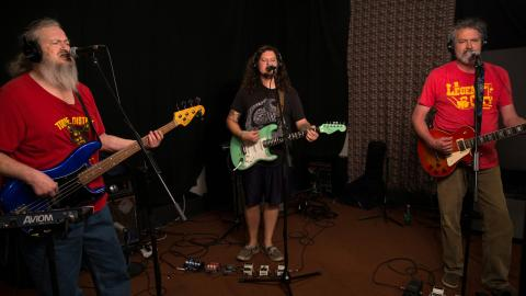 Meat Puppets in Studio A (photo by Joanna LaPorte/WFUV)