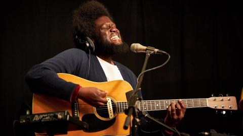 Michael Kiwanuka in Studio A (photo by Gus Philippas/WFUV)