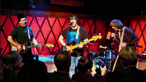 Parquet Courts at Rockwood Music Hall (photo by Gus Philippas/WFUV)