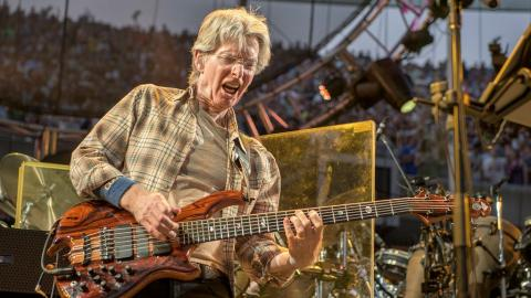 Phil Lesh at the Grateful Dead Fare Thee Well Show at Chicago's Soldier Field on July 4, 2015 (photo by Jay Blakesberg/Invision for the Grateful Dead/AP Images)