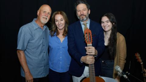 "John Pizzarelli, Jessica Molaskey and their daughter Madeleine with ""Sunday Supper"" host John Platt (photo by Gus Philippas)"