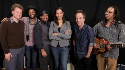 Rhiannon Giddens and band in Studio A (photo by Nick D'Agostino/WFUV)