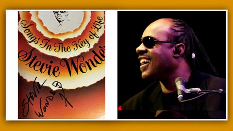 Stevie Wonder, signed album and portrait (first photo by Paul Cavalconte, second photo courtesy of the artist, Facebook.com)