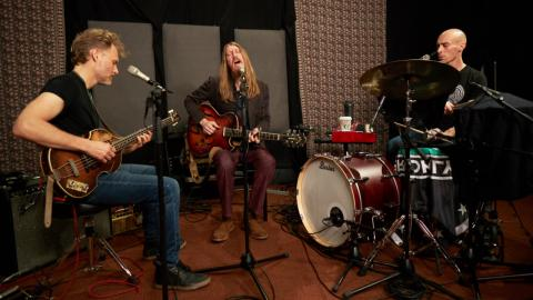 The Wood Brothers in Studio A (photo by Gus Philippas/WFUV)