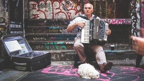 Accordion busker (photo from Pixabay)