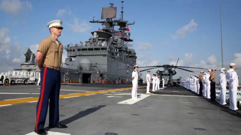 Marines and sailors aboard the USS Bataan