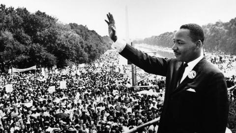 Martin Luther King Jr. on the steps of the Lincoln Memorial on August 28, 1963 (photo courtesy of Wikimedia)