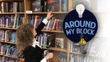 Roseanna Gulisano at her library in PS 11 in the Bronx