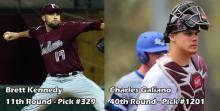 Fordham pitcher Brett Kennedy and Fordham catcher Charles Galiano