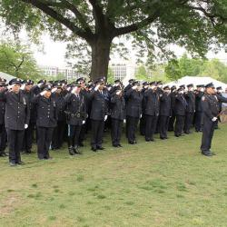 NYPD salute during State of New York ROLL CALL OF HEROES