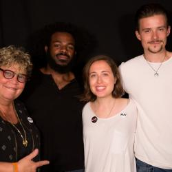 Alice Merton and band with Rita Houston at WFUV