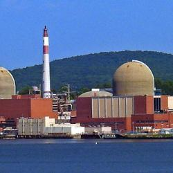 Indian Point nuclear reactor, seen from across the Hudson River on US 9W