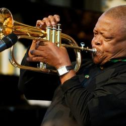 Hugh Masekela in 2012 (photo by Leon Neal/Pool Photo via AP, File)