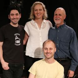 Back: Dave Cole, Ana Egge, Sunday Supper host John Platt; front: Alec Spiegelman (Photo by Jeremy Rainer/WFUV)