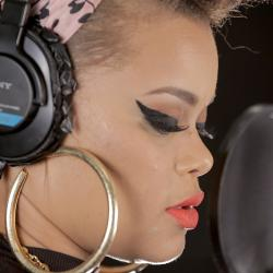 Andra Day in Studio A (photo by Sarah Burns/WFUV)