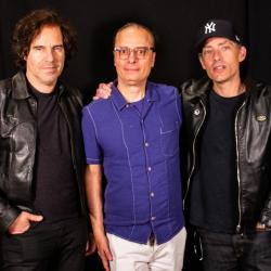 Andrew Slater, Paul Cavalconte and Jakob Dylan in Studio A (photo by Jim O'Hara/WFUV)