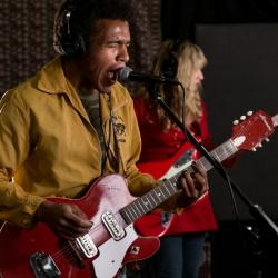 Benjamin Booker in Studio A (photo by Dan Tuozzoli/WFUV)
