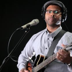 Bhi Bhiman in Studio A (photo by Nick D'Agostino/WFUV)