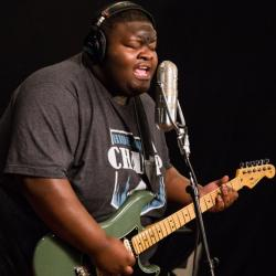 "Christone ""Kingfish"" Ingram in Studio A (photo by Thomas Koenig/WFUV)"