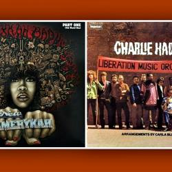 Album covers for Erykah Badu and Charlie Haden