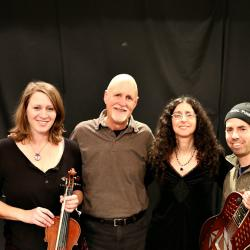 "Efrat and Mara Levine with ""Sunday Supper"" host John Platt (photo by Jeremy Rainer)"