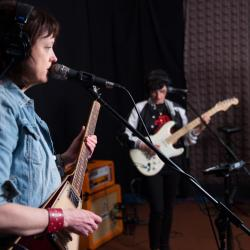 Ex Hex in Studio A (photo by Jeffrey Pelayo/WFUV)