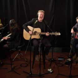 Glen Hansard and band in Studio A (photo by Gus Philippas/WFUV)