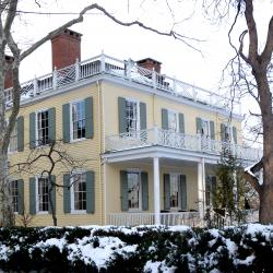 Looking northeast at southeast side of Gracie Mansion on a cloudy afternoon.